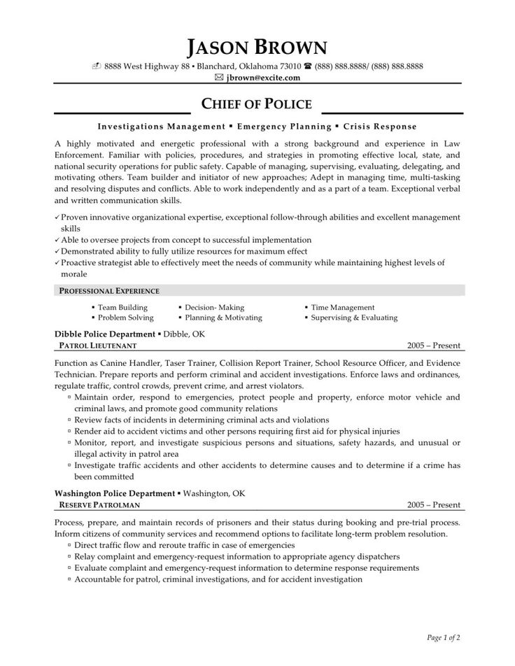 law enforcement skills for resume chief police officer experience objective examples