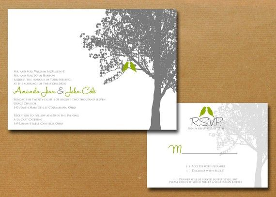 Maple Tree Love Birds Wedding Invitation Set By Nmiphotocreations, $3.00