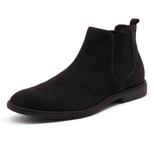 Laurence Crockett Louis Charcoal ($120) ❤ liked on Polyvore featuring men's fashion, men's shoes, men's boots, mens leather boots, mens leather shoes, mens leather ankle boots, mens fur lined ankle boots and mens fur lined boots