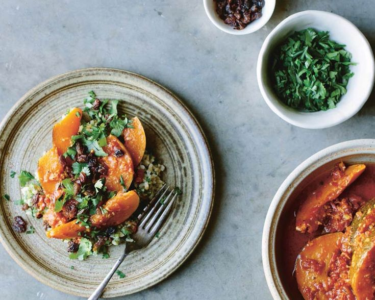 Saffron-buttered Pumpkin with Herbed Brown Rice