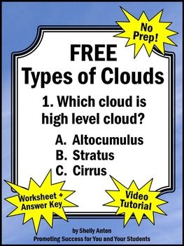 weather unit here is a free types of clouds worksheet and answer key to go along with a free. Black Bedroom Furniture Sets. Home Design Ideas