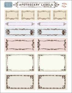 Free replicated antique ornate blank Apothecary labels for artisans, crafters and designers are designed by Cathe Holden of Justsomethingimade.com. Labels are in editable PDF templates ready to print in your laser and inkjet printers. Use them for gift tags, bottles, small contatiners, favors, address labels and lots lots more.