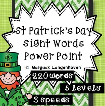 This set of Dolch Sight Word PowerPoints has been created to use as a reinforcement activity to drill sight words.  The set covers 220 sight words which are graded into 5 PowerPoint presentations.  Each of the five levels is available with a 2 and 5 second slide interval as well as a clickable version.
