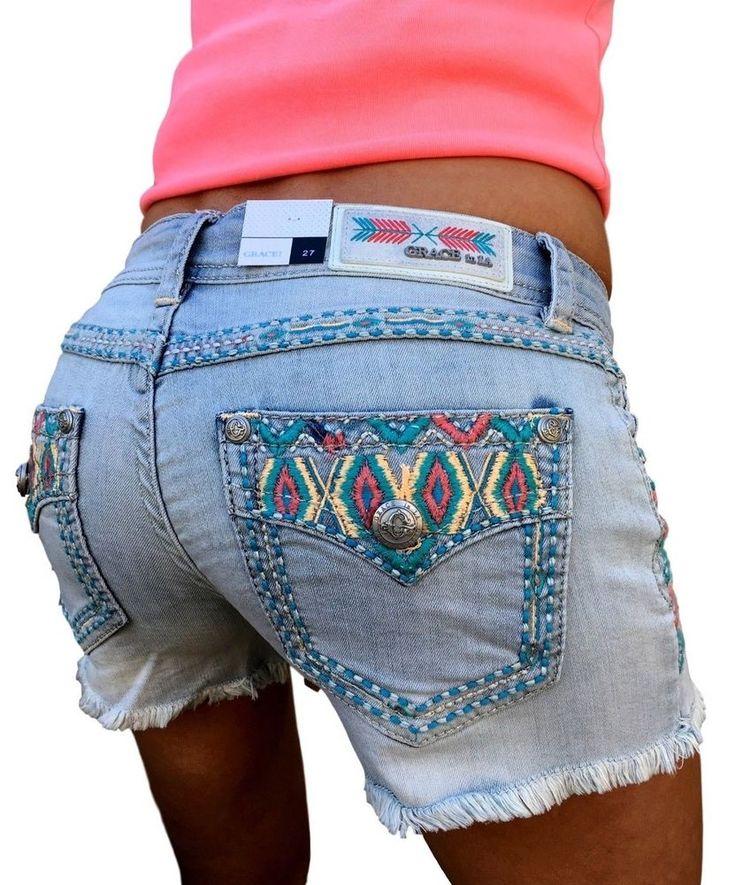 GRACE IN LA JEANS Shorts Low Rise Aztec Pastel Faux Flap Light Denim Jean Short #GraceInLA #CasualShorts