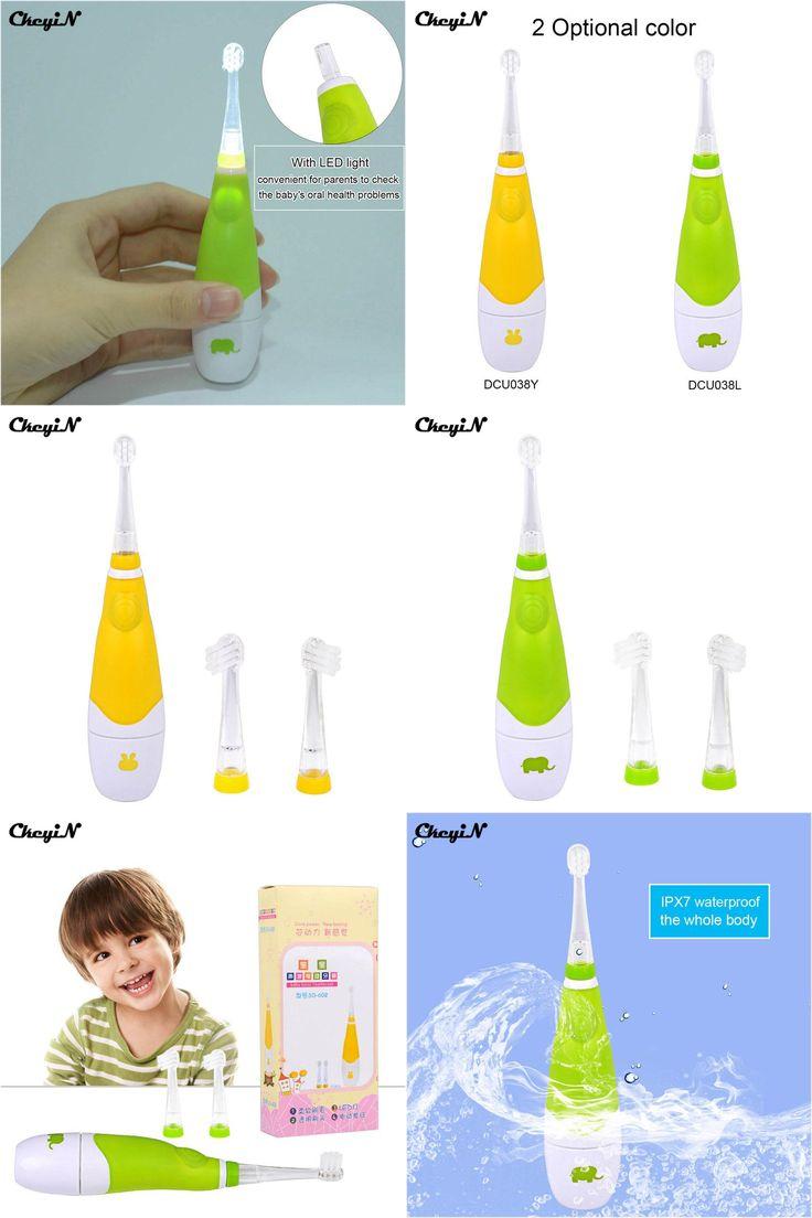 [Visit to Buy] CkeyiN LED Light Baby Kids Electric Toothbrush Ultrasonic Sonic Children Electric Teeth Brush Tooth 3Pcs Brush Heads Timer Brush #Advertisement