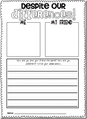 Great freebie for acknowledging differences between kids. Could easily be adapted for older kids using a Venn diagram and following up with the writing activity.
