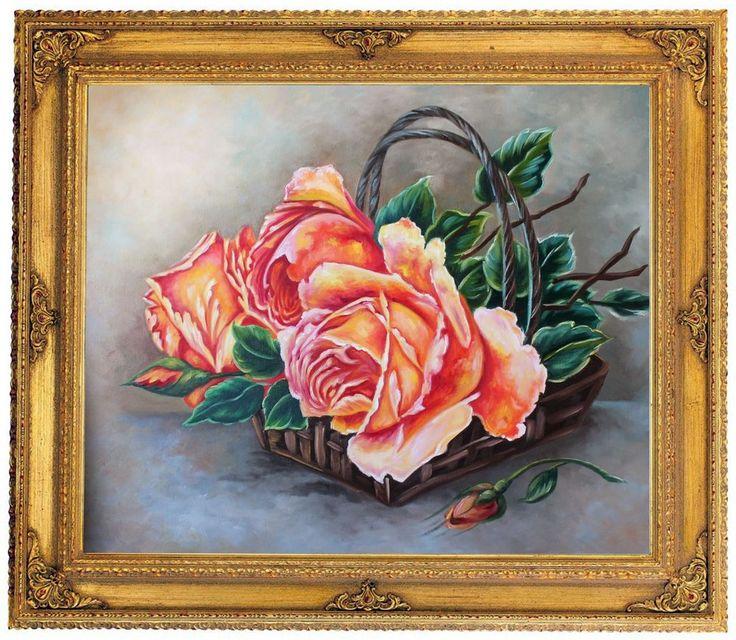 Rosen Blumen 60x50 cm handgemaltes Ölgemälde mit Barockrahmen 80 x 70 cm Unikat