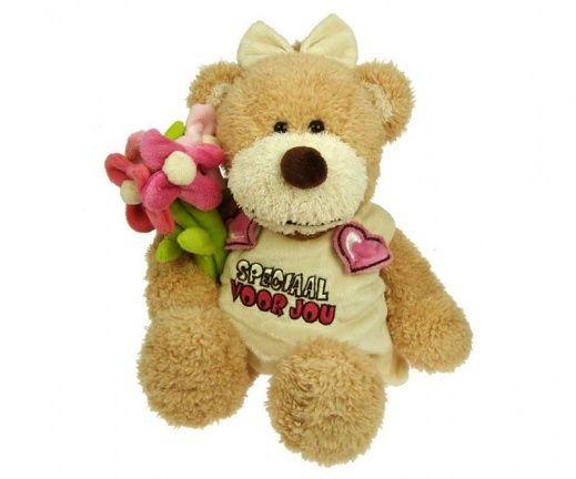 Pluche knuffel beren met bloemen en shirt, 30 cm