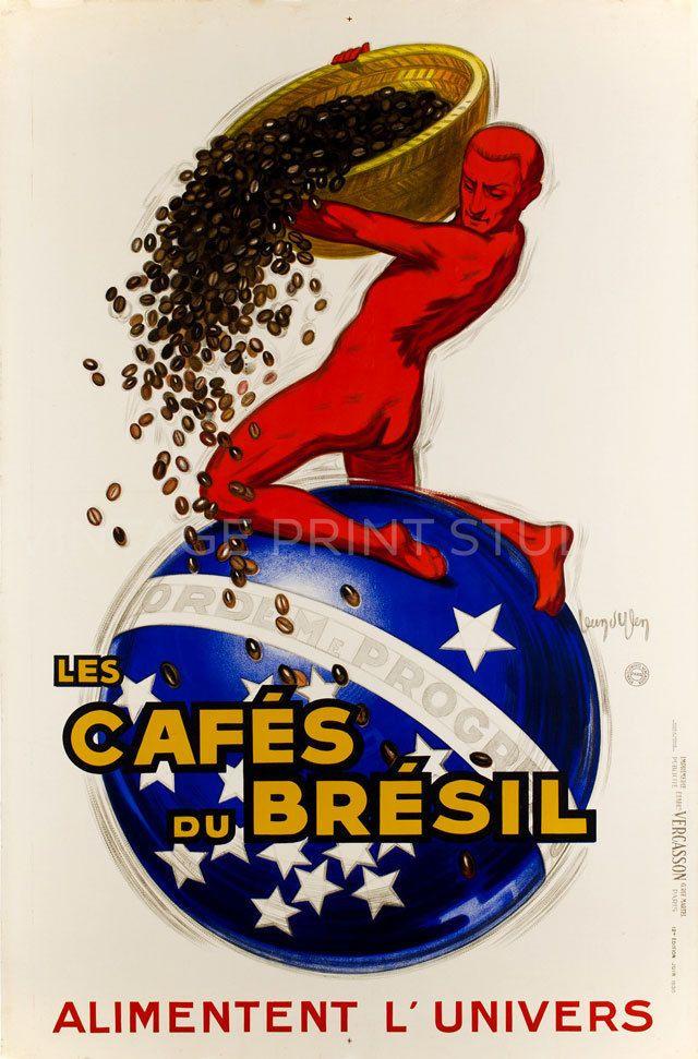 1930 Vintage Art Deco Poster Advertising Canvas Print 20x30 Brazilian Coffee