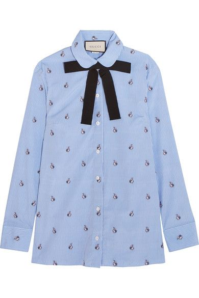 Gucci - Bow-embellished Embroidered Striped Cotton Shirt - Sky blue