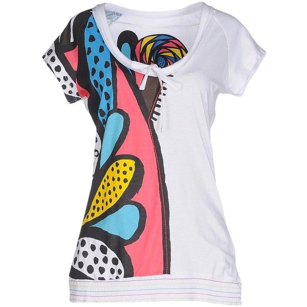 Desigual T-shirt ($61) ❤ liked on Polyvore featuring tops, t-shirts, white, white t shirt, jersey t shirts, short sleeve tee, white jersey and short sleeve t shirt