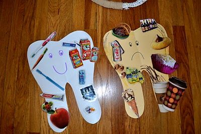 "Sad Tooth/Happy Tooth/Mag. Pictures  ""Sad tooth, sad tooth, full of tooth decay.  Sweets and soda pop made me this way."" ""Happy tooth, happy tooth shiny and bright, brushing keeps me healthy and white."""