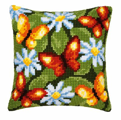 Butterflies and Daisies Cross Stitch Cushion Kit By Vervaco