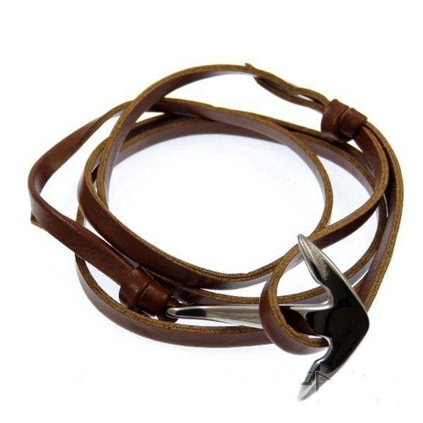 Pulsera de moda de hombre de cuero sintético marrón con ancla de acero. #eljoyerodepaula #Tiendaonline #pulsera #acero #cuero #ancla