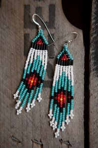 Beautiful Handcrafted Native American Seed Bead Quill Earrings  Each pair is individually made  by a talented women of the Cherokee Nation      http://heidiroland.bigcartel.com/product/native-american-long-turquoise-seed-beed-earrings