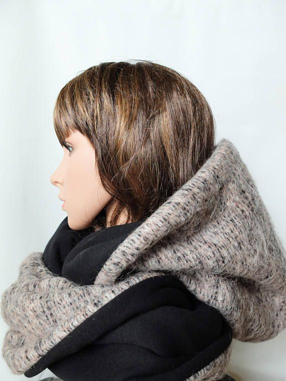 Extra large infinity scarf Wrap hoodie women adult hooded