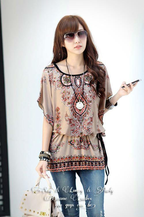 New Fashion Batwing sleeve Plus size Exotic print loose batwing sleeve casual blouses shirts for women 2013 summer $9.50