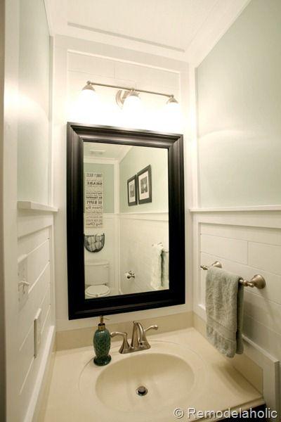 Beautiful Half bath / powder room with plank walls and black accents #powder_room #half_bath #plank_walls