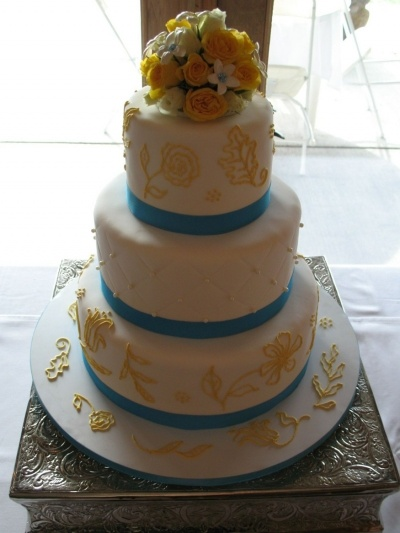 Canary yellow, pool blue wedding By Chef_Stef on CakeCentral.com