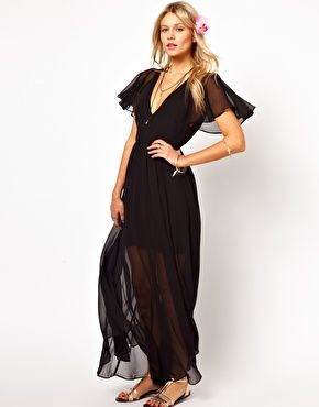 enlarge asos maxi dress with deep plunge and ruffle sleeve