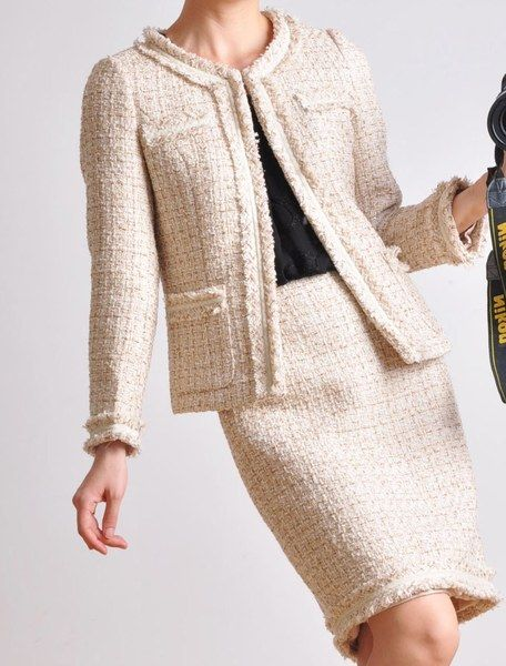 Blazers – Classic Cream White Wool Tweed Jacket Skirt Suit – a unique product by yystudio on DaWanda