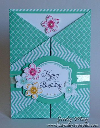 3/14/2014; Judy May at 'Just Judy Designs' blog; Double Z Fold card with a belly band!! Petite Petals and Elementary Elegance stamp sets