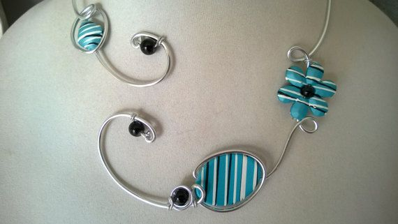 Turquoise and black necklace Turquoise and black jewelry set