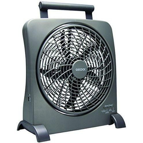 O2COOL - 10-Inch Portable Smart Power Fan - AC Adapter & USB Charging Port