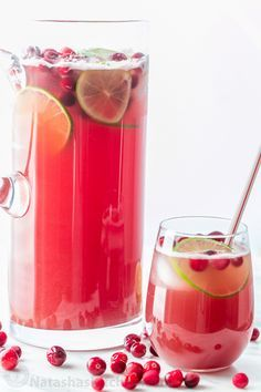 This Cranberry Pineapple Punch is crisp refreshing and loved by adults and kids. Perfect Christmas Holiday Punch! And it's totally easy; just add and stir! | natashaskitchen.com