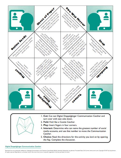 """Digital Doppelgänger Cootie Catcher to Promote Student Discussion on topics of Social Media. FREE Download (Check out the Book """"Cultivating Communication in the Classroom"""" for more ways to use this tool.)"""