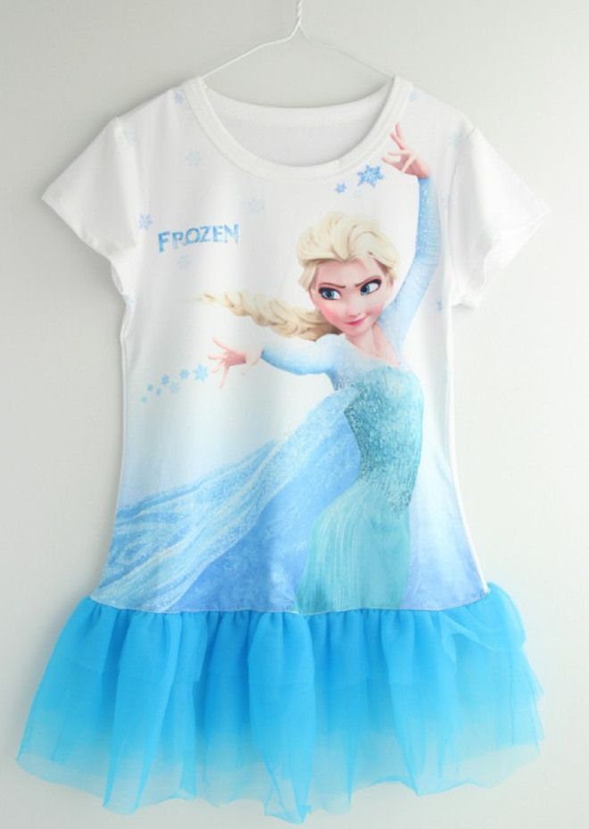 Online Shop Baby Girls Dresses Frozen Dress Anna Elsa Princess Party Cosplay Kids Blue Long T Shirt Age