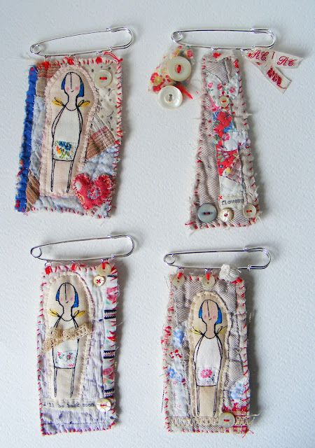 """lovely old, worn, soft, patchwork and quilt cotton pieces"" via Hen's Teeth"