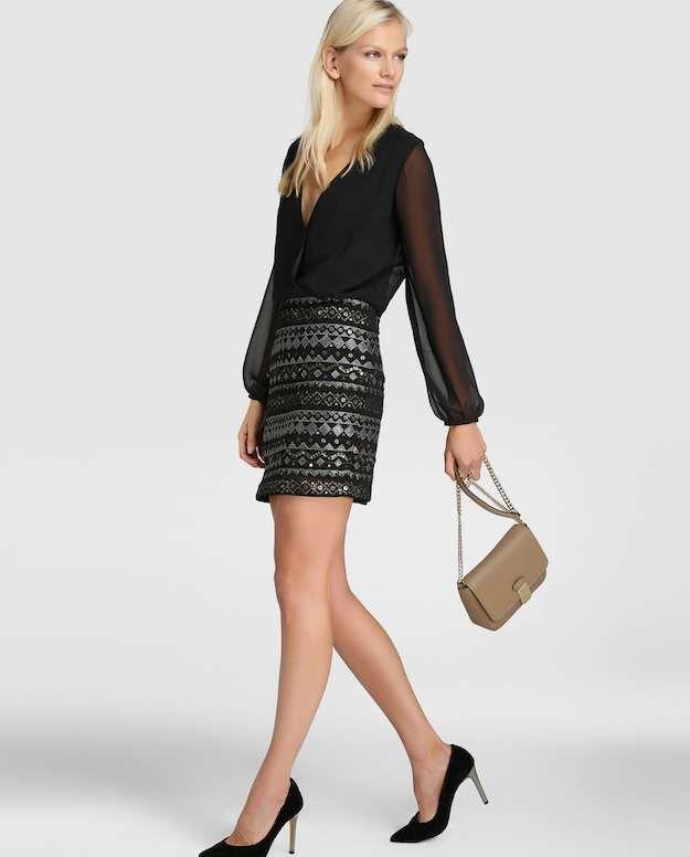 El Corte Inglés Colección Fiesta otoño/invierno 2016-2017: fotos de los modelos - Vestido corto de mujer Elogy con lentejuelas en la falda