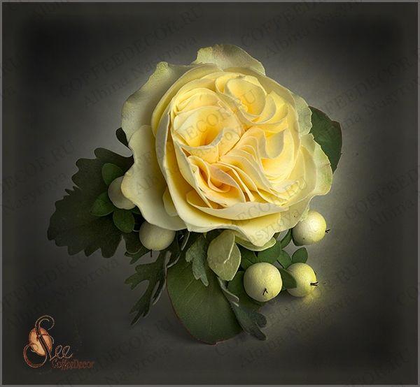 Заколка с пиноводной розой из зефирного фоамирана мастер-класс
