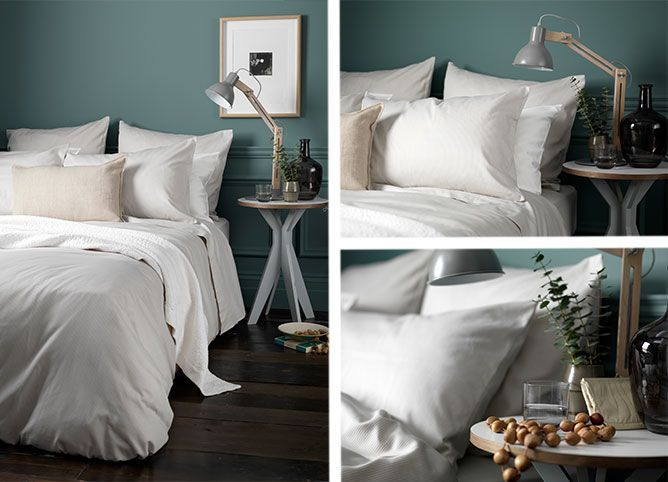 Green Interiors. Tiny Stripe Coffee Cream Bed Linen. Secret Linen Store.