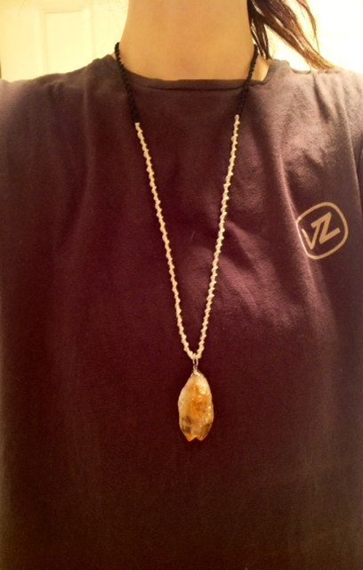 long macrame necklace with big raw citrine peice!