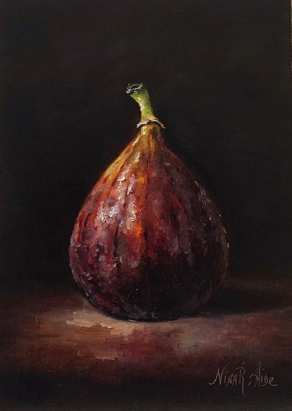 Give the gift that lasts a lifetime. Treat yourself, or someone you love  Still Life Fig is my Original Oil Painting painted in traditional classic chiaroscuro style from the collection Painting like old masters. The painting is painted on archival quality linen panel 7 x 5 x 1/8 with professional artist grade oil paints. Certificate of Authenticity will be enclosed with the painting. The painting is signed on the front, stamped and signed on the back.  The Painting is not framed  The hi...