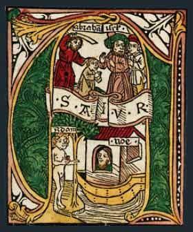 'A' - inicjał z Biblii Zainera wydanej w Augsburgu w r. 1475
