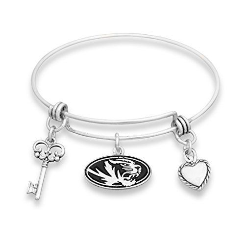Missouri Tigers Silver Tone Bangle Bracelet, Heart and Key Charm by Sports Team Accessories, http://www.amazon.com/dp/B01MTBWNW3/ref=cm_sw_r_pi_dp_x_kc2mzb4CEPKHY