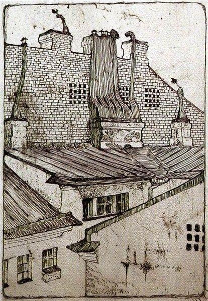 Rooftops - Mstislav Dobuzhinsky - etching - 1901
