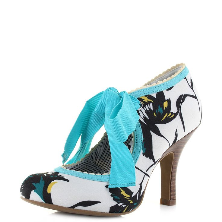 Womens Ruby Shoo Willow Aqua High Heel White Floral Ribbon Shoes Shu Size #Rubyshoo #CourtShoes