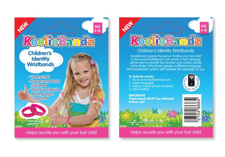 KoolioBandz– Child Security Wristband  Packaging with inbuilt E-Trace Technology.