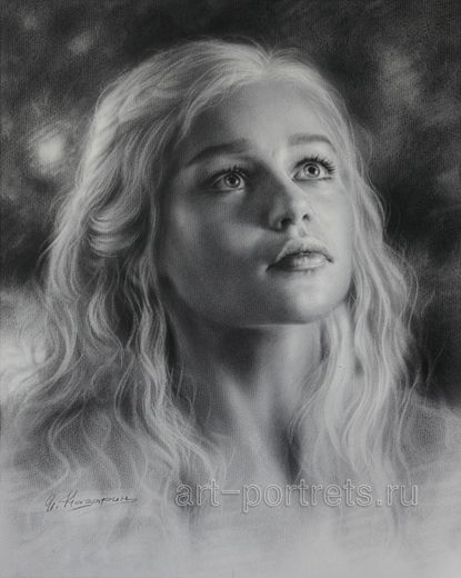Drawing Emilia Clarke is looking up. 2015