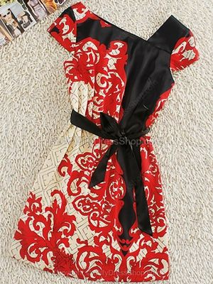 Red Sleeveless Asymmetrical Floral Drawstring Waist Silk Dress
