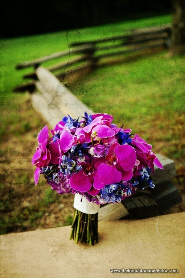 Bright Purple and Magenta Bridal Bouquet of Phalaenopsis and Mokara Orchids, Hydrangea, Roses, and Delphinum by The French Bouquet - Artworks Tulsa Photography