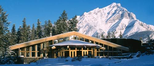 A view of the Trans Canada Pipeline building and Cascade Mountain