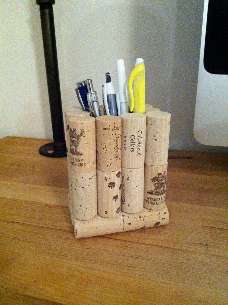 Wine Cork Pencil & Pen Holder. $12.00, via Etsy.