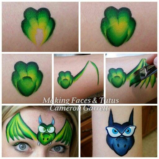 Dragon/bat face painting tutorial