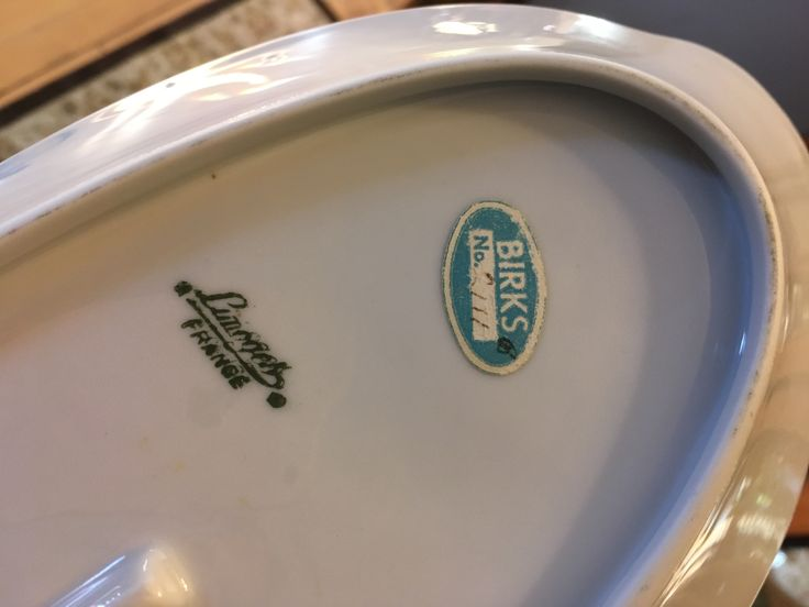 Mark on bottom of dish, with Birks paper sticker with number in pencil still attached.