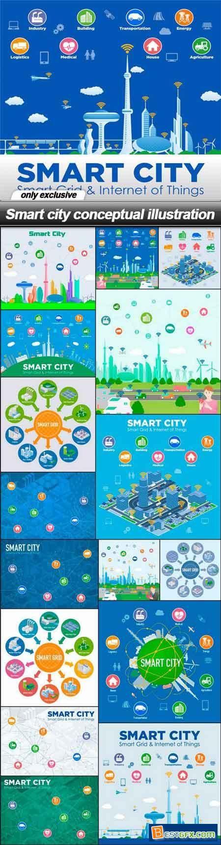 Smart city conceptual illustration - 17 EPS